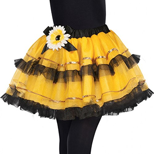 (Girls Bumble Bee Tutu Yellow Black Mini Beast Carnival Festival Summer Fancy Dress Costume Accessory)