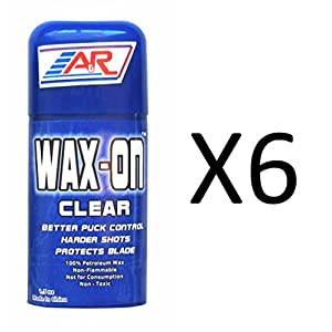A&R Hockey Wax On Clear Rub On Stick 100% Petroleum Wax Protects Blade (6-Pack)