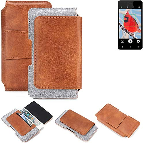K-S-Trade® Für Allview V2 Viper I4G Gürteltasche Schutz Hülle Gürtel Tasche Schutzhülle Handy Smartphone Tasche Handyhülle PU + Filz, Braun (1x)