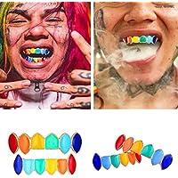BZLine Regenbogen Hip Hop Zähne, Rainbow Grillz mit Fangzähnen für den Mund Top Bottom Hip Hop Zähne Grill Set Kupfer Zahnkappe Schmuck Zähne Grills für Zähne Mund