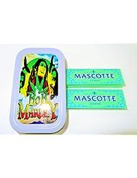 1oz Bob Marley (Gris), diseño de tabaco/Bolsillo/Stash lata + 2Mascotte Gomme estándar folletos Combo se vende por Trendz