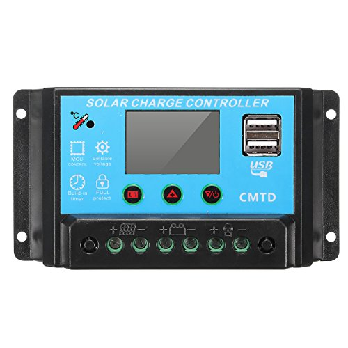 Solarladeregler MOHOO 20A 12/24V Laderegler LCD Display Ueberlastschutz und Kurzschlussschutz