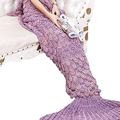 Yowao sirena Manta hecha a mano de la cola para el adulto de punto de las escalas de pescados del patrón y todas las estaciones del saco de dormir 190x90 (74,86 x 35,46 pulgadas)