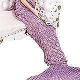yowao Meerjungfrau Schwanz Decke für Erwachsene handgefertigt Strick Fisch Waage Muster und alle Jahreszeiten Warm Ihre Füße Schlafsack Rosa und lila