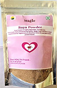 Magic SOYA Protein Powder in Chocolate Flavor, SOYA Powder for Milk, SOYA Protein, Non GMO, Chocolate SOYA Milk Powder 200g Pack,Pure Without Preservative and Colour