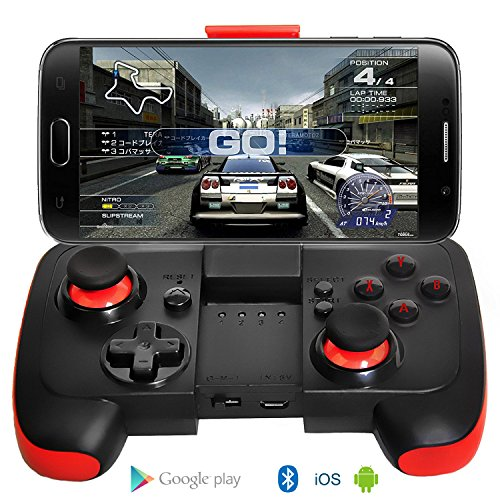 Preisvergleich Produktbild Android Controller Ultradünn Bluetooth Gamepad mit Halterung für Android / Tablet / TV-Box / VR-Geräte / Emulatoren - Schwarz Rot