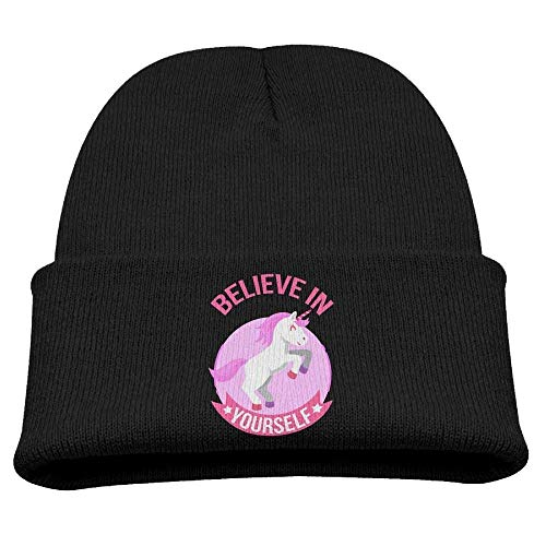 uykjuykj Funny Cap Hat Believe in Yourself Unicorn Unisex Slouchy Beanie Black Adjustable Unique Personality Cap