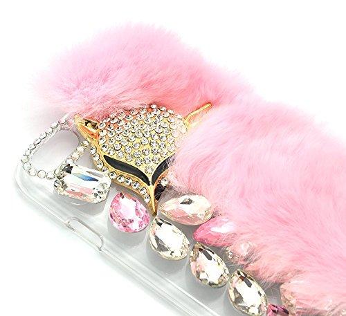 Coque iPhone 7 / iPhone 8 Case, Sunroyal Étui de Protection Arrière Pratique Fashion Chic Housse Telephone Accessoires Élegant avec 3D Diamant Renard Bling Bling Strass Paillette Brillante Glitter de  Rose Fox