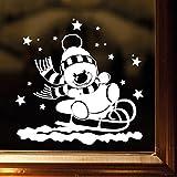 """Wandtattoo Loft Fensterbild """"Schneemann auf Schlitten"""" mit Sternen aus weißer mattglänzender Vinylfolie, konturgeschnitten- OHNE hässliche Hintergrundfolie, 2 Größen zur Auswahl Fensteraufkleber Weihnachten Dekoration Sterneset / / 30 cm hoch x 30 cm breit"""