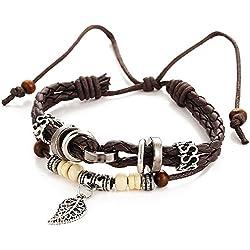 wjkuku Fashion Charm hojas colgante marrón trenzado cuerda pulsera de cuero