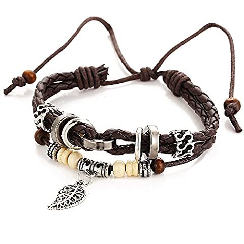 wjkuku Fashion Charm Blätter Anhänger Braun geflochten Seil Leder Armband
