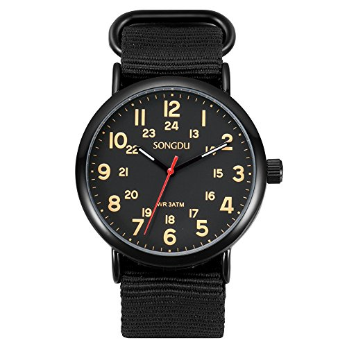 SONGDU Herren Uhr Casual Analog Edelstahl Quarz Armbanduhr Mode Schwarz Nylon Armband (Orange)