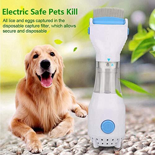 AUOKER Elektrischer Flohkamm mit 3 Auffangfiltern für Katzen & Hunde & Kinder, allergie- und chemikalienfreie elektrische Flohbehandlung Kopf-Lize, Pflege für Haustierhaare