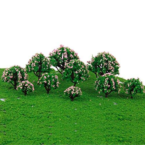 Sharplace 2× 10pcs 1:75-1: 500 10pcs Modellbaum mit Rosa Blume Für Eisenbahnlandschaft / Dioramax / Idea Auch als Haus Tisch Dekoration