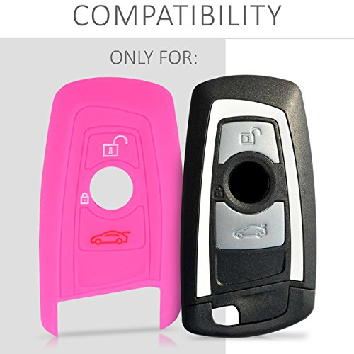 kwmobile Funda de Silicona para Llave de 3 Botones para Coche BMW Case Mando de Auto Rosa Fucsia Carcasa Protectora Suave de Silicona