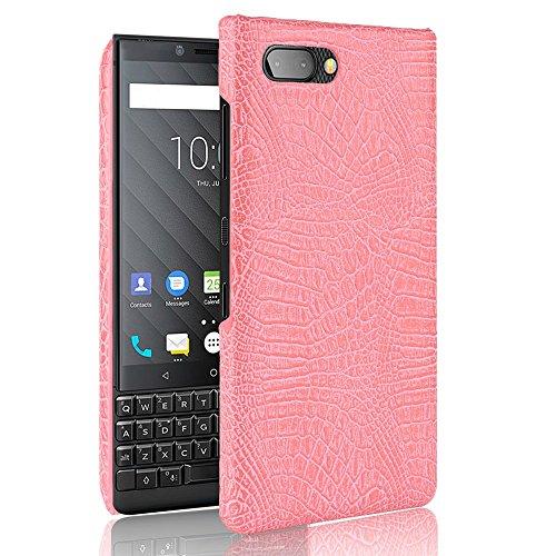 SHENYUAN-Fashion case BlackBerry Key2 Hülle, Classic Krokoprägung [Ultra] PU Leder Kratzfest PC Schutz Hard Case Cover für BlackBerry 2 Key2 / Keytwo (Farbe : Rosa) -