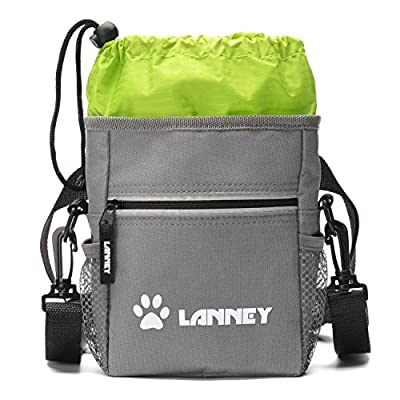 Premium Dog Training Treat Pouch, Big Compartment Pet Treat Bag with Poop Bag Dispenser & 3 Wearing Ways, Adjustable Waist/ Shoulder Belt/Heavy Duty Metal Clip