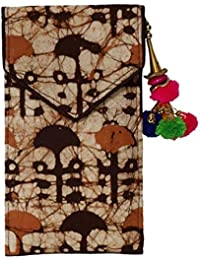 Batic Prints Hand Mobile Cover With Back Zip Pocket And Latkan For Women_Brown Print