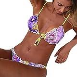 Costume Da Bagno Donna,Homebaby Stampa Bikini Set Patchwork Costume Da Bagno Costumi Da Bagno Donna Due Pezzi Costumi Da Bagno Donna Costume Da Bagno (Coppa:32A//32B, viola)