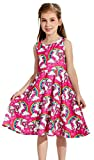 Funnycokid Mädchen Einhorn Gedruckt Cartoon-Muster Ärmelloses Kleid Alter 13