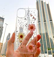 E&A Clear Dried Flower Case for iPhone 11 Silicone Gel Shockproof Glitter Sparkle Girls Pressed Flower Flo