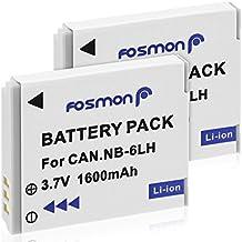 Fosmon (Lot de 2) 3,7V 1600mAh Canon NB-6L NB6L/NB-6LH NB6LH Remplacement Li-Ion Batterie Pour Powershot SX710 HS SX520 HS SX520HS SX600 HS SX700 HS SX610 HS SX710 HS SX500 IS SX510 HS SX510HS SD1300