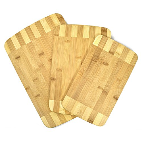 Bambus Schneidebretter 3er Set Servierbretter Schneidebrett Küchenbrett Brotbrett Holz-Brett; klingenschonend und antibakteriell (Schneidebrett-set Bambus)