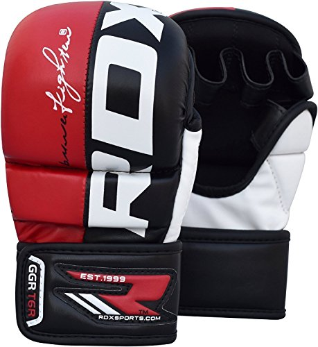 RDX MMA Gloves Grappling Martial Arts Punching Bag Maya Hide Leather Mitts Sparring Cage Fighting Combat UFC Training