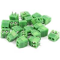 DealMux 20 piezas de 3,5 mm Pitch 2P montaje en PCB de terminales de tornillo del bloque conector verde