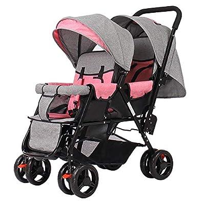 Strollers NAUY @ Carro Infantil Doble, Cochecito de bebé Gemelo Peso Ligero Plegable Carro de bebé Doble de Dos plazas Sillas de Paseo