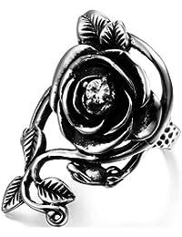 JewelryWe Bijoux Bague Homme et Femme Vigne de Rose Vintage Mariage Anniversaire Acier Inoxydable Anneaux Fantaisie Couleur Argent Noir Largeur 35mm Avec Sac Cadeau(Taille de Bague Optionnel)