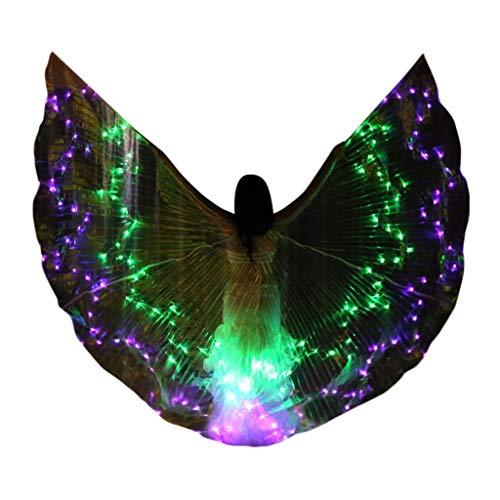 ZHANSANFM LED Isis Flügel Tanz Dance Fairy Ägypten Belly Wings Performance Kleidung Karneval Halloween Leistung Tanzen Mit Teleskopsticks für Bühnen Weihnachten Cosplay Party - Mädchen Lila Pixie Kostüm