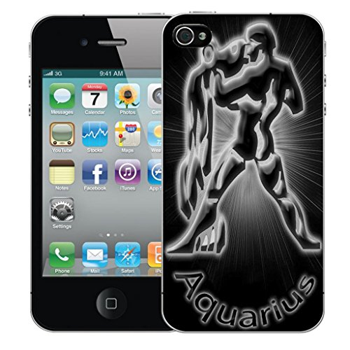 Nouveau iPhone 5s clip on Dur Coque couverture case cover Pare-chocs - noir aries Motif avec Stylet black aquarius