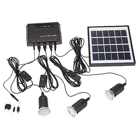 Panneau solaire - SODIAL(R)4W panneau solaire Propulse 3 Lampe LED USB 5V chargeur de telephone portable Systeme Home Kit Garden Pathway Stair Camping plein air Peche