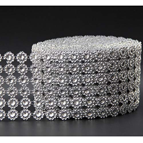 5014721bcd Wedding Party Decoration - Silver Diamond Rhinestone Flower Mesh Wrap Roll  Crystal Sparkle Ribbon Diy Cake Wedding Party Decor - Wedding Mint Adults  ...