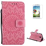 KaseHom Galaxy S4/I9500 PU Billetera Funda + [Protector de pantalla libre] Presionado Sun Flower Design [Desmontable] con ranuras para tarjetas Cubierta magnética con protección completa - Rosado