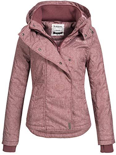Sublevel Damen D5174X46550D Übergangsjacke Jacke mit Kapuze Dark Berry Rose Melange M