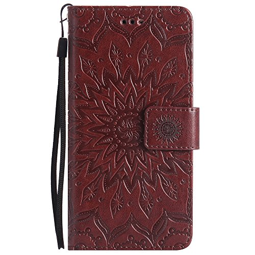 Für Sony Xperia X Fall, Prägen Sonnenblume Magnetic Pattern Premium Soft PU Leder Brieftasche Stand Case Cover mit Lanyard & Halter & Card Slots ( Color : Red ) Brown