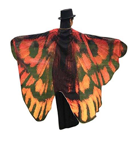 ZEZKT Frauen Schmetterlings Flügel Schal feenhafte Damen Nymphe Pixie Cosplay Kostüm Zusatz Karneval Fasching Accessoires Umhang Poncho Kostüm Zubehör Lange (Kaffeebraun) (Langarm-hut Klassisches)