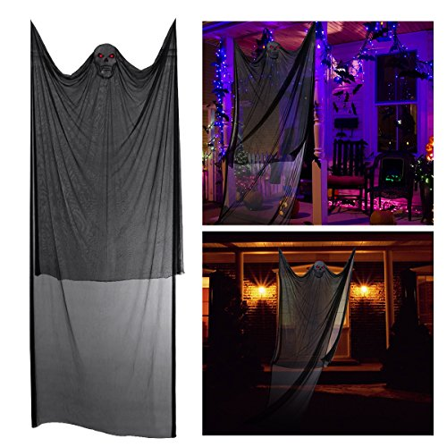 (Amosfun Halloween Leuchtende Requisiten Sprachsteuerung Hängende Dekor Animierte Sound Haunted House Party Supplies)