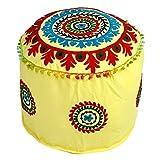 Icrafts India indischen Vintage-osmanischen Pouf, Patchwork osmanischen, Wohnzimmer Patchwork Fuß Hocker Cover, Deko handgefertigt Home Stuhl Abdeckung 35,6x 55,9x 55,9cm gelb