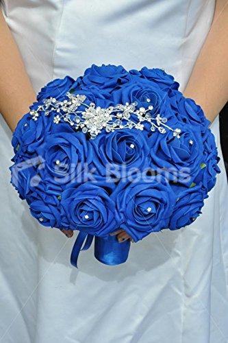 Colourful artificiale schiuma blu royal rose bouquet da sposa con cristallo spilla - Ornato Spilla Pin
