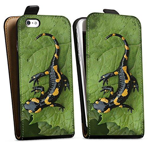 Apple iPhone X Silikon Hülle Case Schutzhülle Salamander Echse Reptil Downflip Tasche schwarz