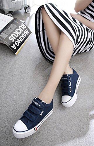 Wealsex Sneakers Basses Plateforme Talon Epais Femme Baskets Mode Scratch Chaussures Toile Casuel Bleu