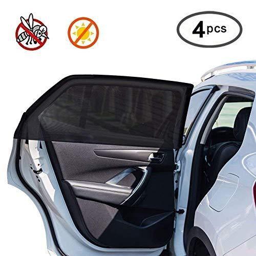Rigoglioso Sonnenschutz für Autoscheiben, für Baby und Haustiere, Seitenfenster vorne und hinten, blockiert schädliche UV-Strahlen, hält Mücken fern, universell passend, 4 Stück