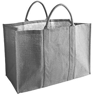 Aubry Gaspard 1060S Bag for Logs, Jute, 60 x 30 x 40 cm, Grey