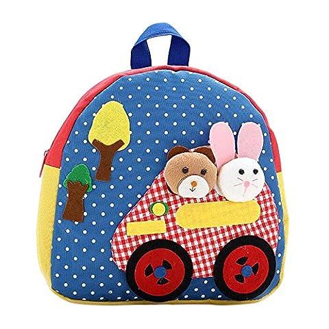 Cartoon Rabbit and Bear Pattern Handmade Kids Child Small Oxford Cloth Schoolbag School Bag Backpack Blue