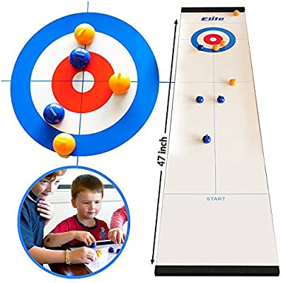 Elite Sportz Table Top Curling Game pour les familles. Adultes contre les enfants dans ce jeu de famille amusant. C'est bien plus amusant que cela l'imagine, rapide et facile à configurer et donc compact pour le stockage ou en tant que jeu de voyage