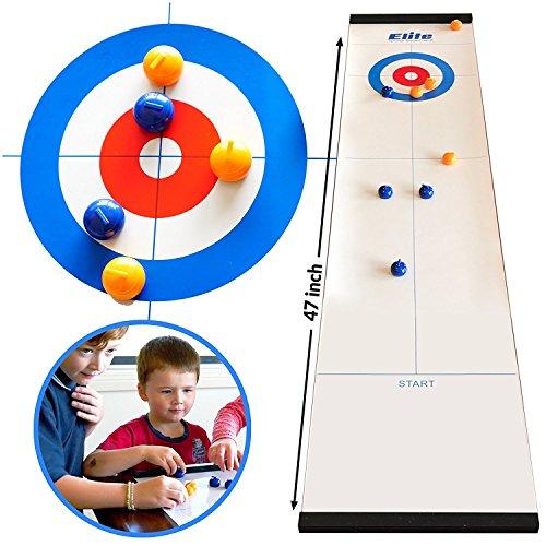 Elite Sportz Tavolo da Tavolo Curling per le Famiglie. Adulti vs I Bambini in questo gioco di Famiglia Divertente. È un modo più divertente di quanto sembri, facile e veloce da configurare e così compatto per l'archiviazione o come un gioco da viaggio