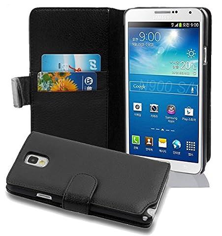 Cadorabo - Etui Housse pour Samsung Galaxy NOTE 3(N9005) - Coque Case Cover Bumper Portefeuille (avec fentes pour cartes) en NOIR DE